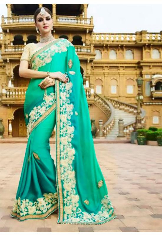 Designer Green Wedding Saree_23