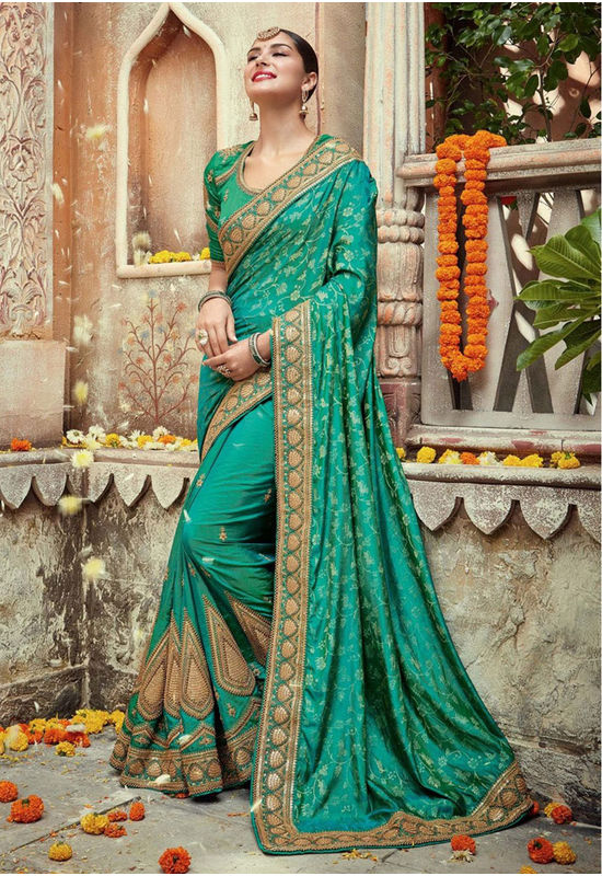 Designer Green Wedding Saree_3