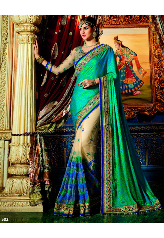 Designer Green Wedding Saree_4