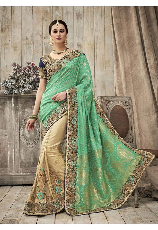 Designer Green Wedding Saree_5