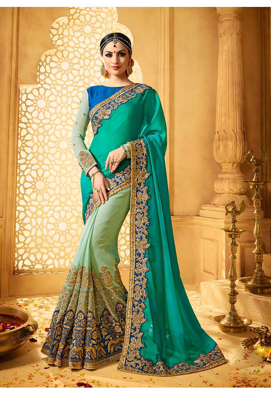 Designer Green Wedding Saree_6