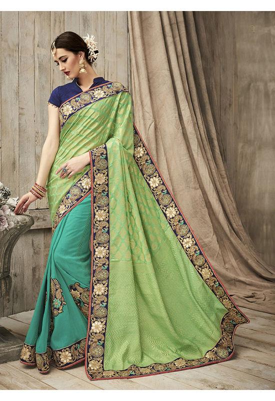 Designer Green Wedding Saree_8