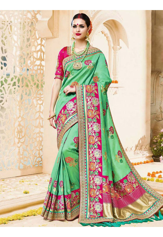 Designer Green Wedding Saree_9
