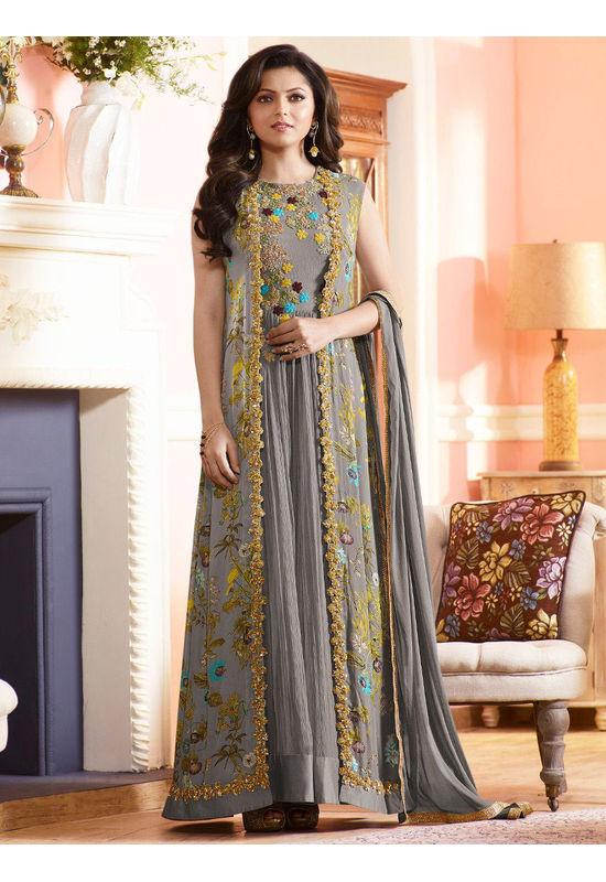 Drashti Dhami Embroidered Long Anarkali Suit_11