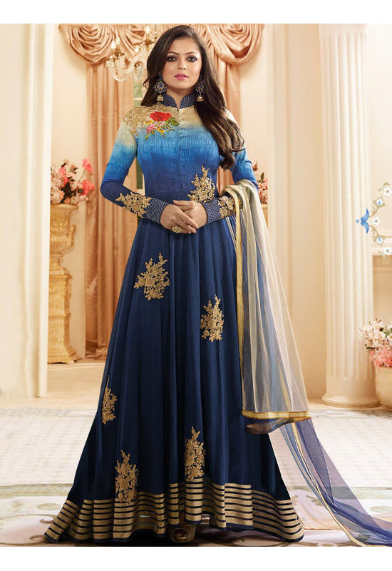 Drashti Dhami Embroidered Long Anarkali Suit_12