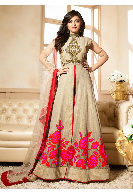 Drashti Dhami Embroidered Long Anarkali Suit_25