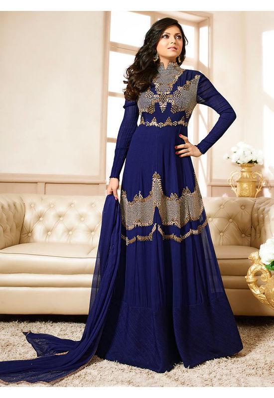 Drashti Dhami Embroidered Long Anarkali Suit_26