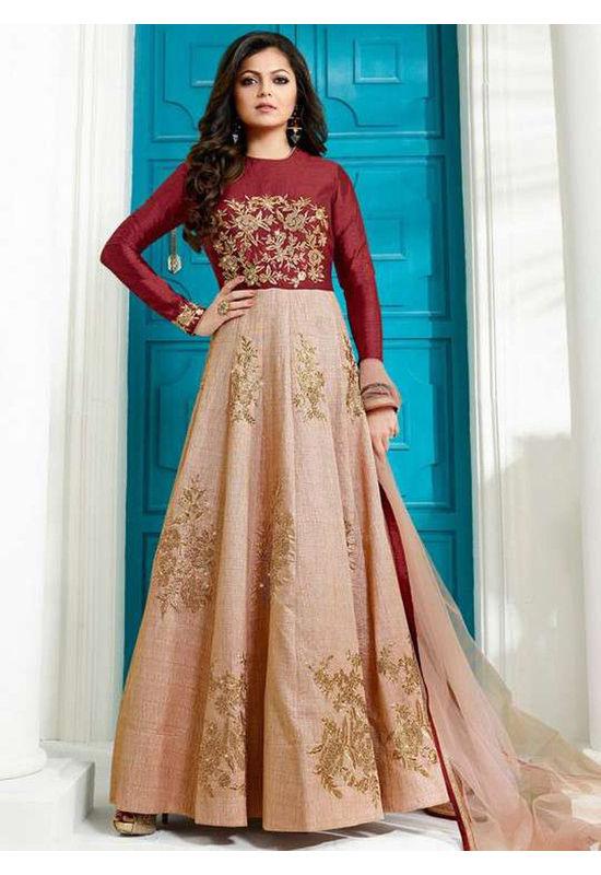Drashti Dhami Embroidered Long Anarkali Suit_5