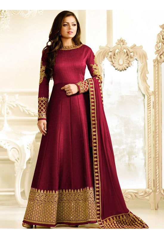 Drashti Dhami Embroidered Long Anarkali Suit_8