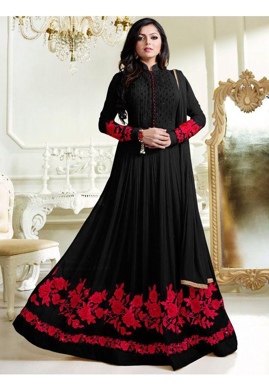 Drashti Dhami Embroidered Long Anarkali Suit_9