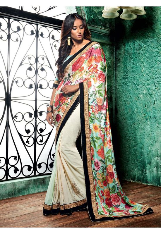 Floral Multi Color Printed Saree in Crepe