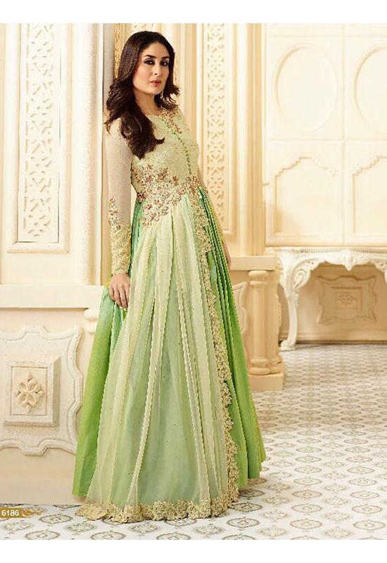 Kareena Kapoor Green & Cream Georgette Anarkali Gown Suit
