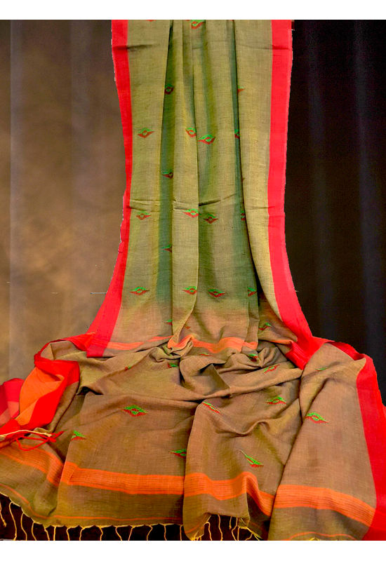 Linen Cotton Saree in Green Color with Contrast Border