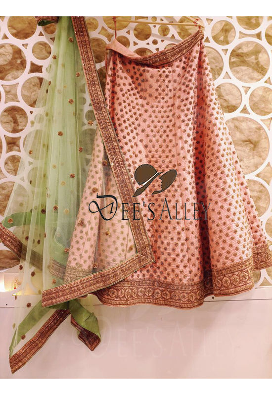 Light Pink with Green Raw Silk Designer Lehenga with Hand work Embroidery
