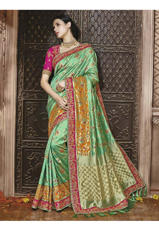Green Kanjeevaram silk saree with embroidery