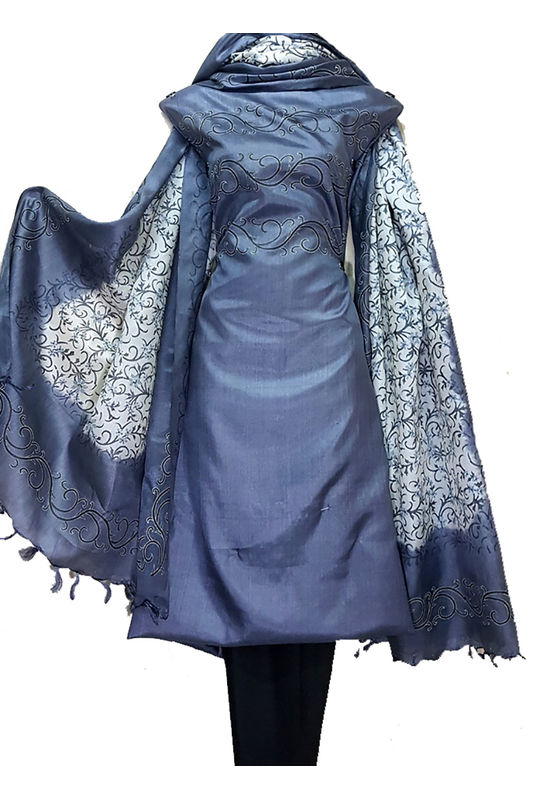 Tussar Silk Suit in Grey Color