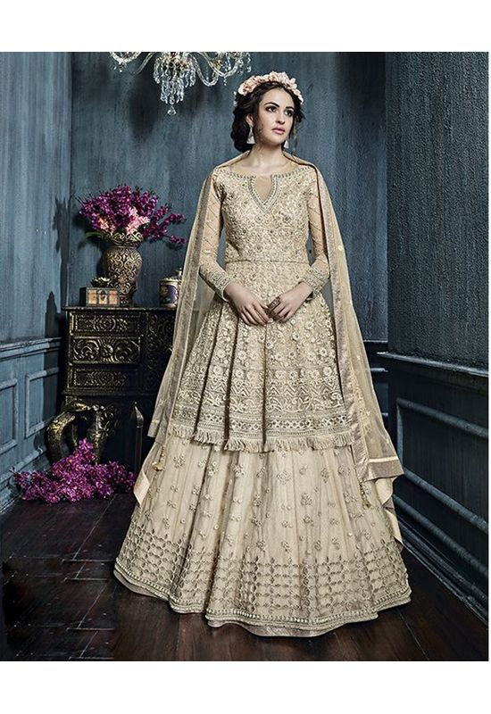 Cream  Color Heavy Embroidered Indo Western Anarkali Suit