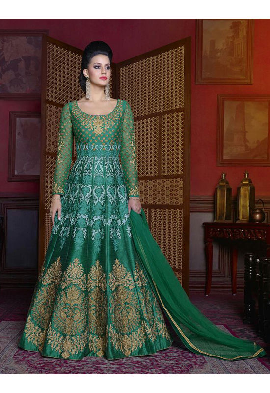 Green Color  Long Indowestern Anarkali Gown