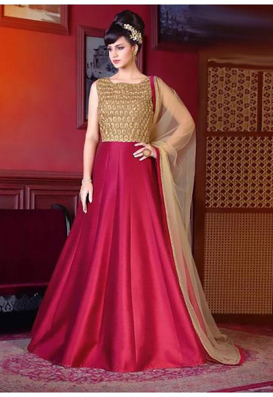 Red Color Long Indowestern Anarkali Gown