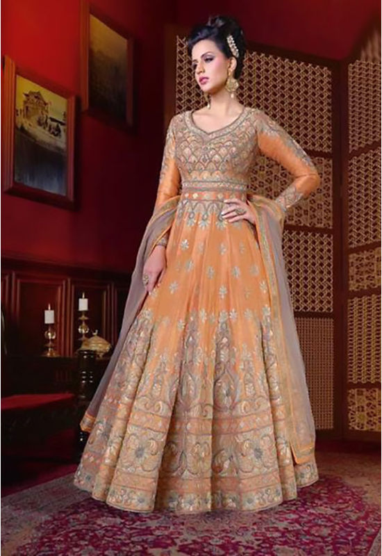 Orange Long Indowestern Anarkali Gown
