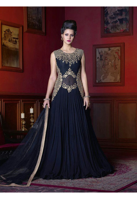 Deep Black  Long Indowestern Anarkali Gown
