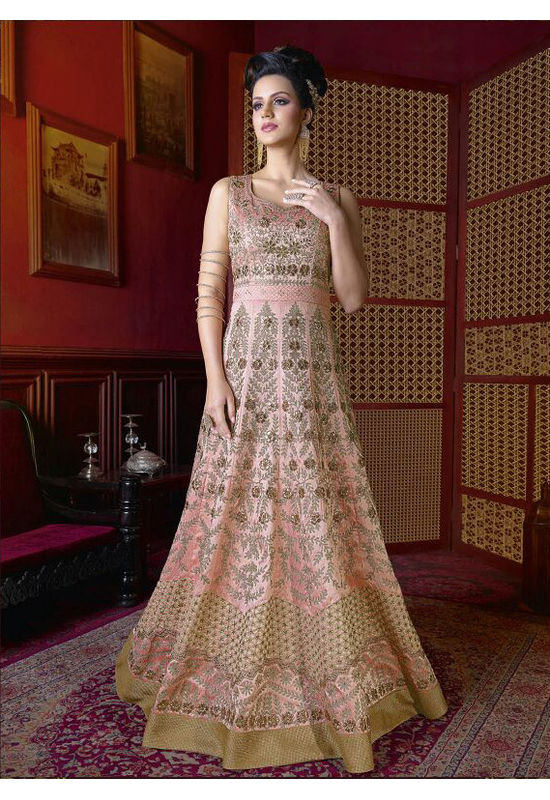 Light Pink Long Indowestern Anarkali Gown