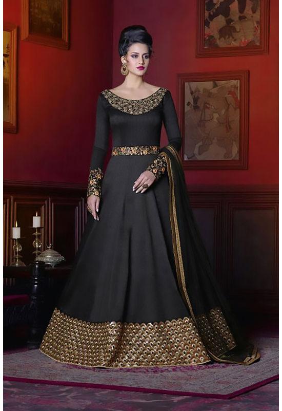 Black Long Indowestern Anarkali Gown