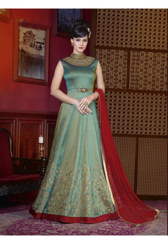 Green Long Indowestern Anarkali Gown