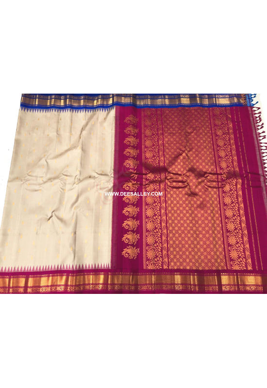 Dee's Alley  Beige Red Color Pure Kanjeevaram Silk Saree - 100% Pure Silk