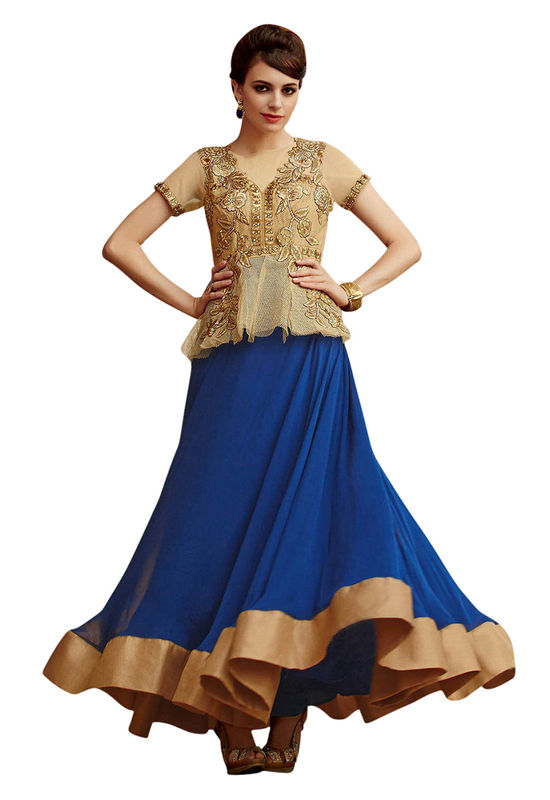 Blue and Golden Indowestern Anarkali Gown Salwar Suit