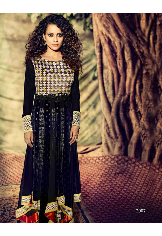 Kangana Ranaut Stylish Long Black Asymmetrical Anarkali
