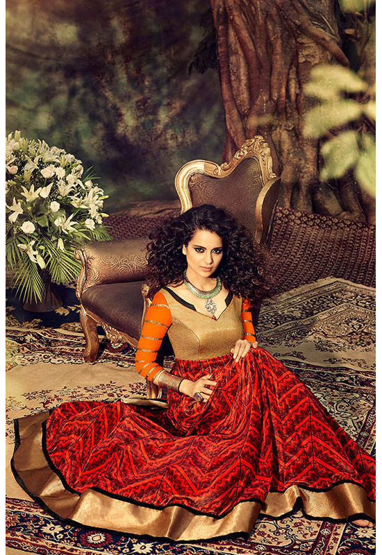 Kangana Ranuat Stylish Long Anarkali_3