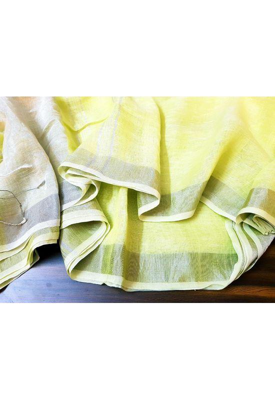 Pure Linen Silk Saree in Light Yellow with Silver Zari