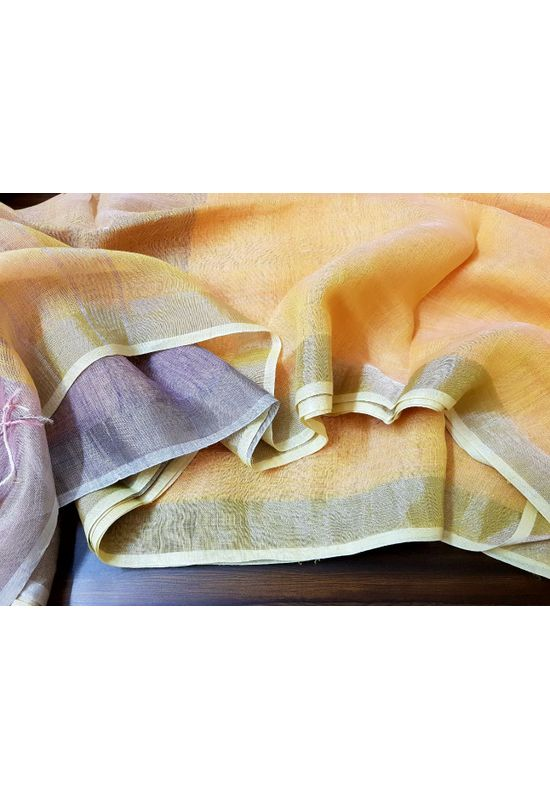 Pure Linen Silk Saree in Light Yellow with Silver Zari and Mauve Blouse