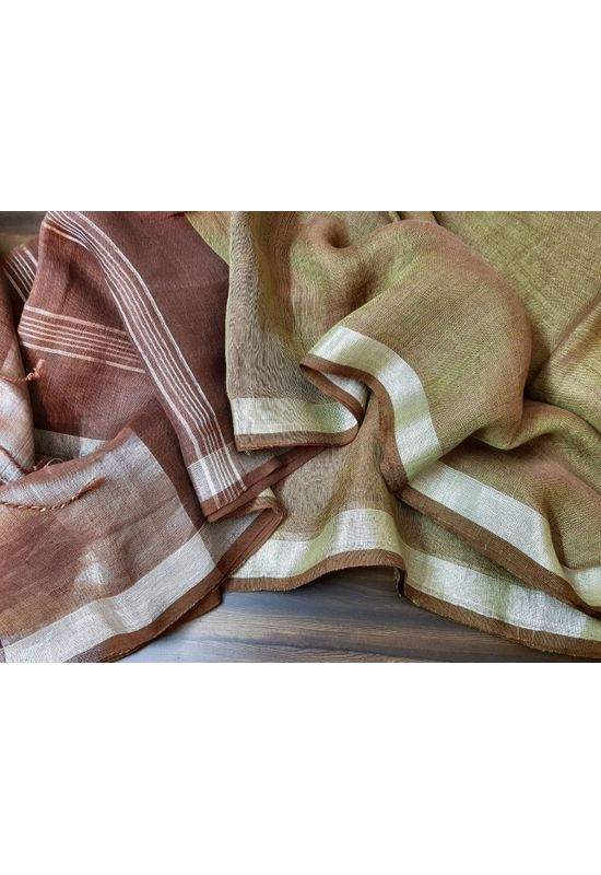 Pure Linen Silk Saree in Brown and Miltary Green
