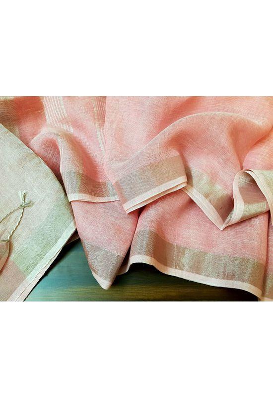 Pure Linen Silk Saree in Peachish Pink Color with Silver Zari