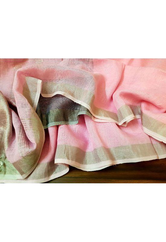 Pure Linen Silk Saree in Pink Color with Silver Zari