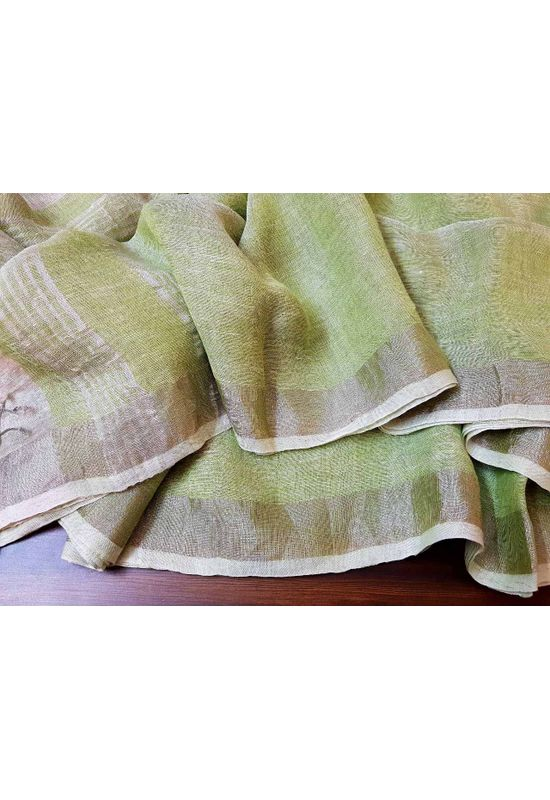 Pure Linen Silk Saree in Light Pink and Blue Color
