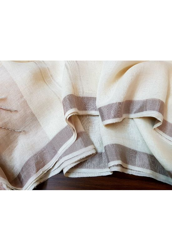 Pure Linen Silk Saree in Off White Color with Brown Shade Contrast