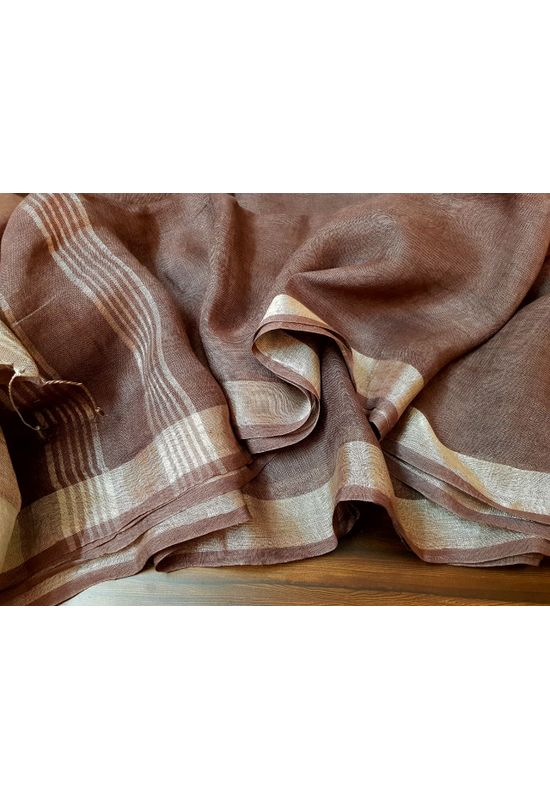 Pure Linen Silk Saree in Brown Color