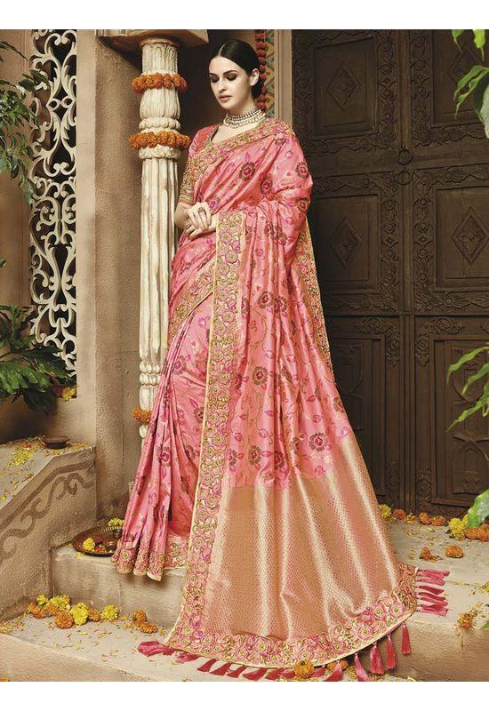 Pink  Kanjeevaram silk saree with embroidery