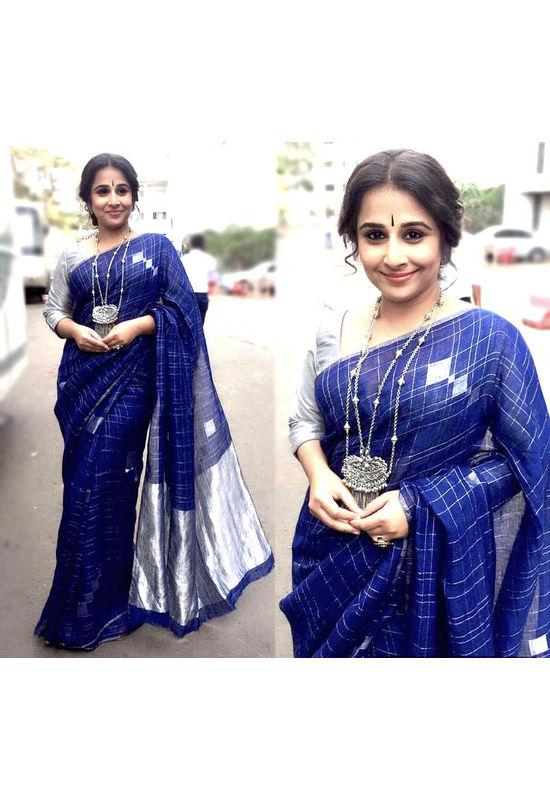 Pure Linen Silk Saree in Blue color with Silver Zari Border