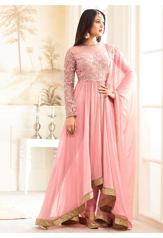 Pink Partywear Fusion Anarkali Style Suit with Pants