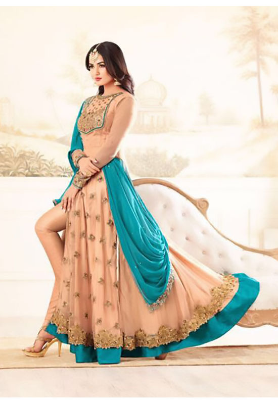 Peach and Blue Partywear Anarkali Style Suit  with Pants