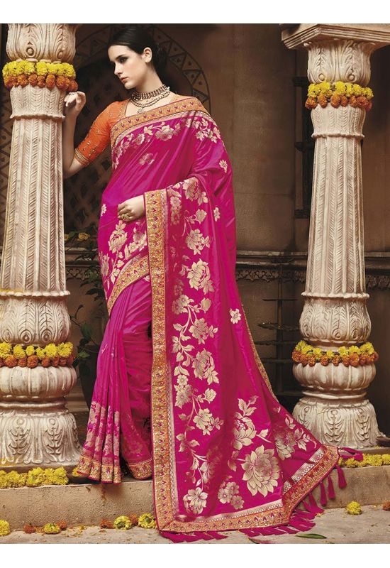 Magenta Pink  Kanjeevaram silk saree with embroidery