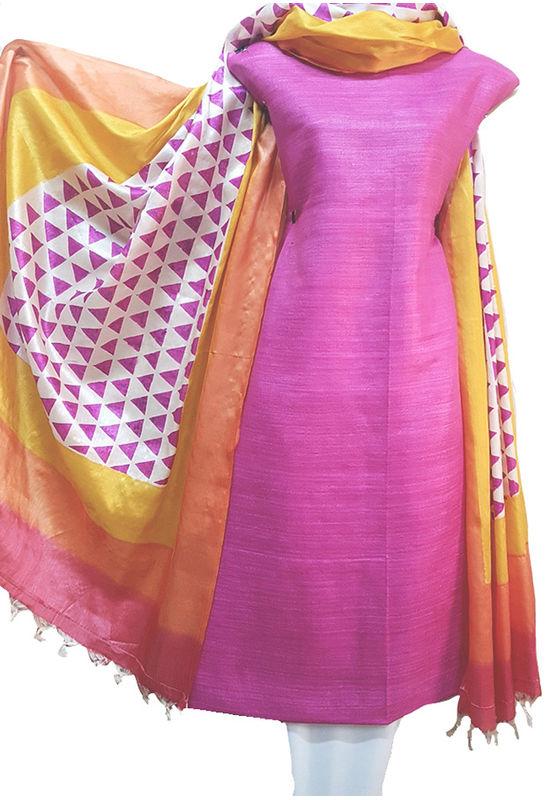 Magenta with Printed Tussar Silk Material R 52