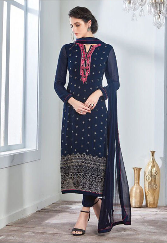 Embroidered Georgette Straight Salwar Suit_106