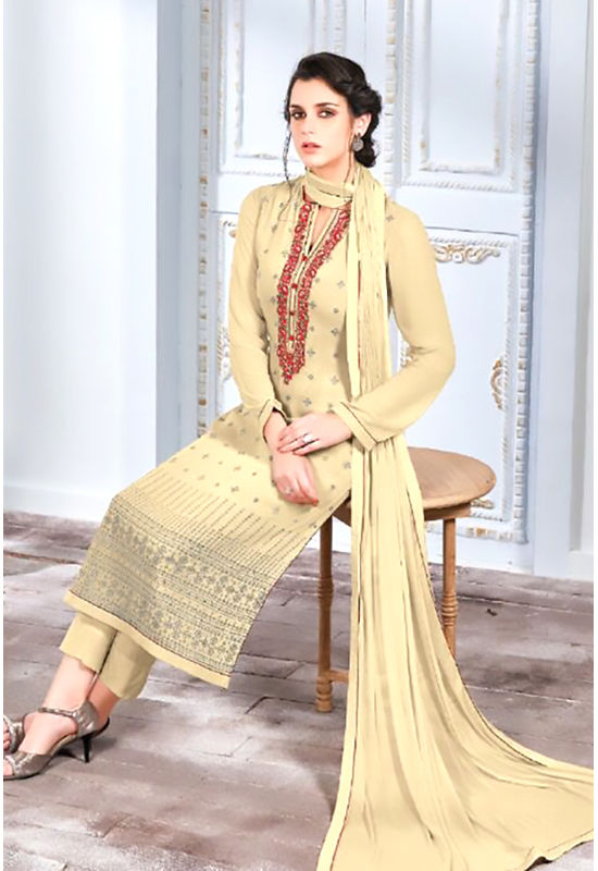 Embroidered Georgette Straight Salwar Suit_107