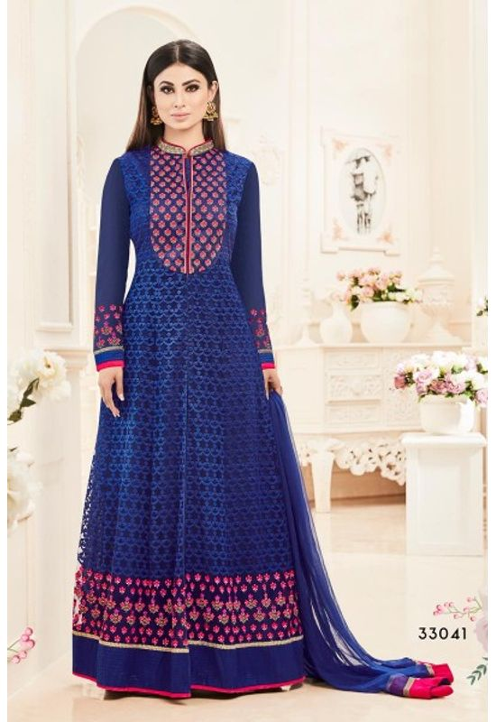 Blue Color Designer Embroidered Net Suit Featuring Mouni Roy