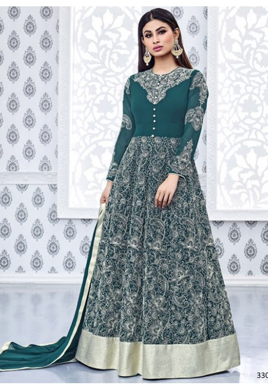 Mouni Roy Green Embroidered  Long  Anarkali Salwar Suit